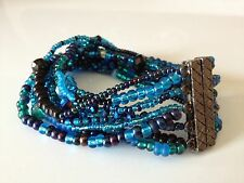 Bohemian MULTI-COLOR BLUE Glass BEAD Color Block BRACELET Bangle Cuff Shamballa