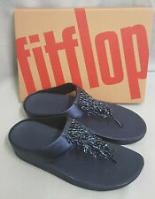 Fitflop Rumba Toe Thong Sandals Leather Midnight Navy Tassel Toe Post Box Size 7