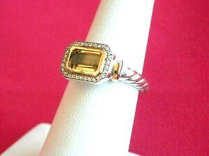 David Yurman SSilver Novella 9x6mm Ring w/18K Gold/Champagne Citrine/Diamonds