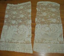 2 Antique French Tambour Floral Net Lace Curtain Panel Pieces