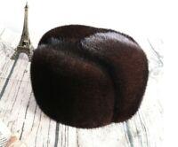 Winter Warm Men 100% Real Genuine Mink fur hat Cap /BLACK COFFEE DARK COFFEE