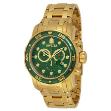 Invicta Pro Diver Chronograph Green Dial 18kt Gold-plated Mens Watch 0075