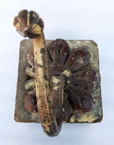 Antique Old Rare Hand Carved Decorative Brass Wood Flower Design Wall Hanger