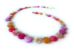 A Sign💕Tender💕 Zierliche Kette/Halskette Muschel/Perlmutt Pastellfarben Magnet