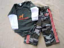 Toddler Boys One Piece Wolf shirt & Camouflage pants size 18 to 24 m/Gap/Place