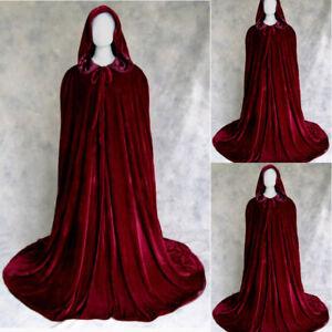 Wine Red Velvet Hooded Cloak Wedding cape Halloween Wicca Medieval Robe Coat Cos