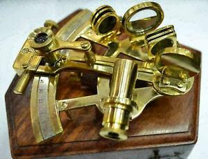 Vintage Collectible  Brass German Nautical Sextant With Wooden Box