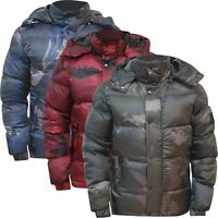 Ex-Superdry Mens Quilted Puffer Bubble Camo Bomber Hooded Heavy Padded Jacket