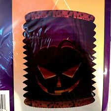 "Halloween Jack-o-Lantern Paper Lantern Purple Black Orange 8""x6"" Accordion New"