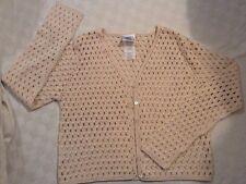 Laura Ashley Women's Cardigan Sweater Open Knit Ivory Sz M