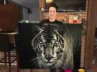 White Tiger Blue eye Canvas Print Huge Framed Wall Art Decoration Cotton Canvas