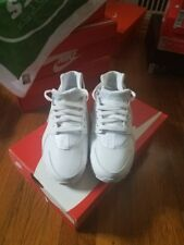 nike huarache shoes white/platinum size 7y for $250