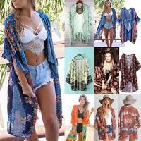 NEW Womens Summer Chiffon Coat Shawl Kimono Cardigan Beach Cover Up Jacket Tops