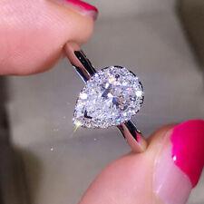 2.00 Ct Pear Cut Halo Diamond Engagement Wedding Ring 14k White Gold Finish