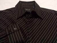 7 Diamonds Mens XL Long Sleeve Button-Front Black Striped Shirt