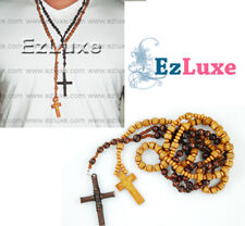 TWO ROSARY SET Wood Wooden Cross Jesus Rosario Rosary Necklace layer