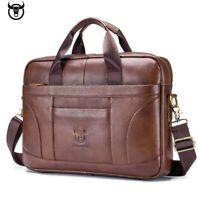 BULLCAPTAIN Men Leather Cowhide Briefcase Shoulder Bag Large Business Casual Bag