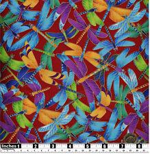 Quilting Fabric Blue Purple Yellow Dragonflies Red BG 100% Cotton Fat Quarter