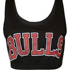 NEW Womens Gym Vest Bra CropTop Sleeveless Bulls Basketball Ladies S/M