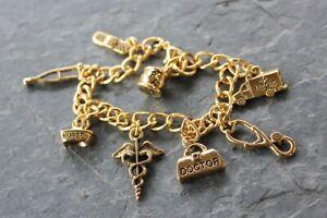 Medical charm bracelet - doctors, nurses, hospital -chunky gold plated chain