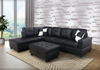 *SALE* Modern Black Sectional w/ Faux Leather Storage Ottoman & 2 Accent Pillows