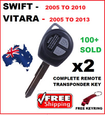 2x SUZUKI SWIFT VITARA Car Keys Blank Remote control Fob TRANSPONDER  2005-2014