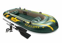Intex Seahawk 4 Inflatable Raft River Lake Dinghy Boat, Pump & Oars Set 68351EP