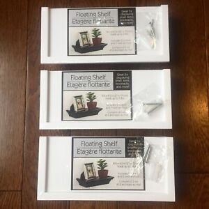 """x3 Floating Shelves White Set 8.6 X 4"""" Holds Up To 5 Lbs Screws & Wall Anchors"""