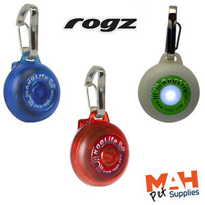 Rogz Roglite Safe Light Flashing Dog Safety Light for Collar or Lead Red or Glow