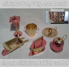 Miniaturen Set 6 tlg. aus Metall, farblich veredelt, Setzkasten, Puppenhaus
