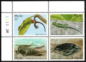 Palau 113-116a Bl/4, MNH. Reptiles. Gecko, Skink, Crocodile, Turtle, 1986