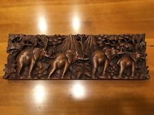 Indonesian Elephant Wood Carving - Wooden Bali Intricate Art