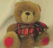 "1985 Applause 7"" JINGLES BEAR Brown Red Corduroy Ears Feet Teddy Plush w/ Bells"