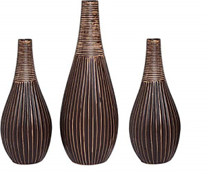 Hosley Set of 3 Brown Textured Ceramic Cute Bud Vase Set Ideal Gift for Mantel,