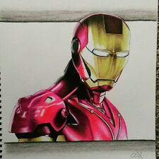 Hand made one of a kind Ironman Portrait Colored pencil drawing Art signed work