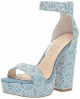 Jessica Simpson Womens CAIYA Faux Fur Open Toe Ankle Strap, Denim Blue, Size 8.0