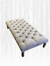 Ottoman Stool Footstool Coffee Table Button Grey Velvet Large Handmade UK