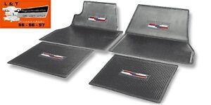 1955 1956 1957 Chevy Gray Crest Rubber Floor Mats Belair Hardtop Sedan Wagon
