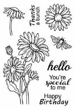 """#77036 Srm Clear Stamp 4""""x6"""": Daisies Flowers Happy Birthday Thanks Hello"""