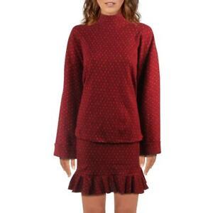 Free People Set The Mood Women's 2 Piece Printed Mock Neck Sweater & Skirt Set