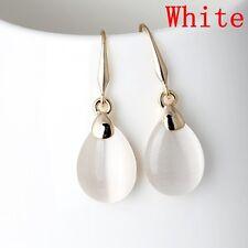 Gold Plated Waterdrop-Shape Drop Earrings Opal Stone Dangle Ear Stud Jewelry