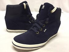KEDS HALFPIPE: Shimmer Bar Leather Women's Wedge Boots, Navy Suede Size 9 Wide