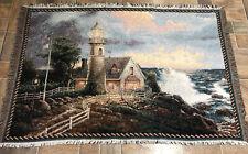 Thomas Kinkade Lighthouse cottage Ocean Flag 100% Cotton Throw Blanket 44x66�