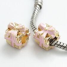 1pcs gold gift box CZ European Charm Beads Fit 925 Necklace Bracelet Chain #366