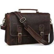 "Mens Vintage LeatherBrown Messenger Bag Satchel Briefcase 15"" Mac Laptop Case"