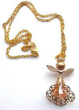 "Handmade With Swarovski Elements Gold Guardian Angel 18"" Chain with Gift Bag"