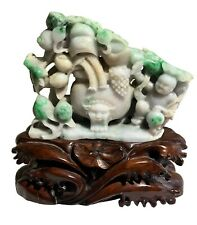 Important White Lavender Imperial Green Jadeite Jade Carved Dragon Boy Statue
