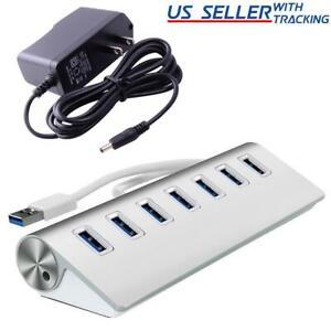 7-Port Aluminum USB 3.0 Hub + 5V/2A Power Adapter for PC Laptop Notebook Desktop