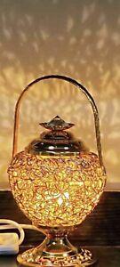 Electric Bahoor Burner With English Plug And Night Lamp Gift GoldcolouSize 27Cm)