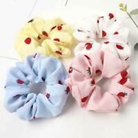 Simple Ponytail Hair Rope Strawberry Flower Printed Scrunchies Elastic Hair Ties